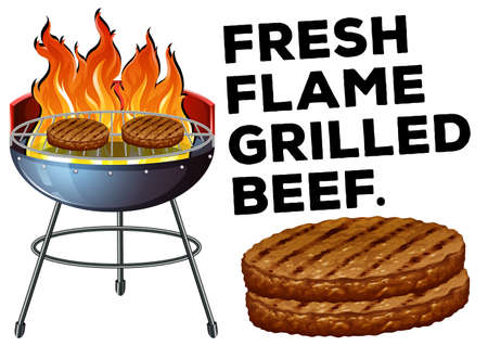 barbecue stove: Grilled beef on the bbq stove illustration Illustration