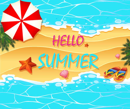 summer holiday: Summer holiday on the beach illustration