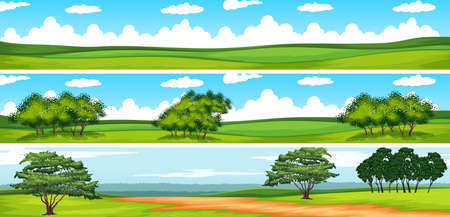 sky and grass: Scene with trees in the field illustration Illustration