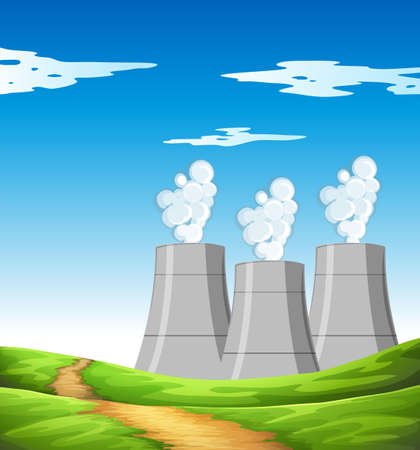 clipart chimney: Smoke coming out of chimneys in the field illustration Illustration