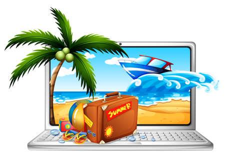 destination: Computer screen with summer background illustration