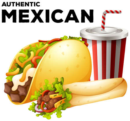 junkfood: Mexican food with taco and burrito illustration