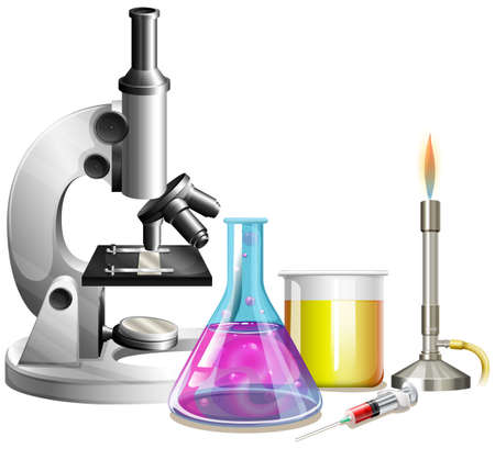 Microscope and beakers with liquid illustration