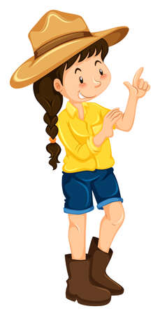 boots: Little girl wearing hat and boots illustration Illustration