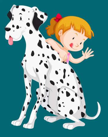 dalmation: Cute girl with pet dog illustration Illustration