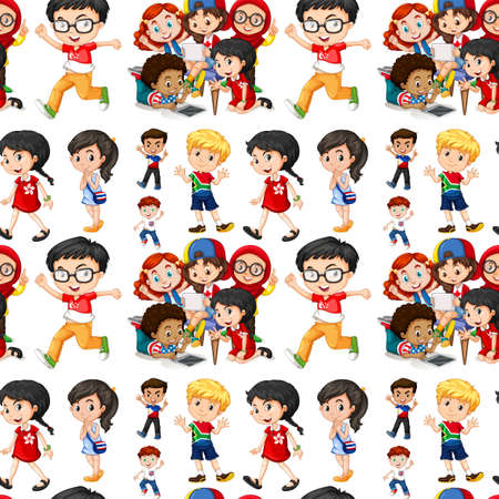 thai art: Seamless background with boys and girls illustration