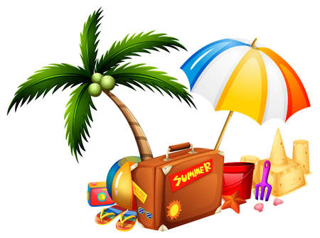 Summer theme with suitcase and toys illustration