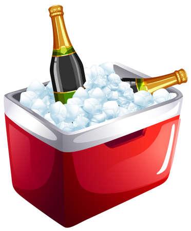 Las botellas de vino en un cubo de hielo ilustración