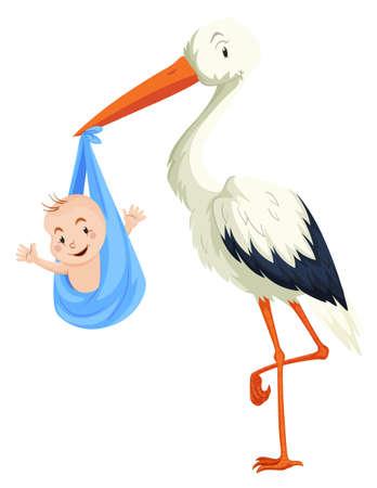Crane delivering baby boy illustration Illustration
