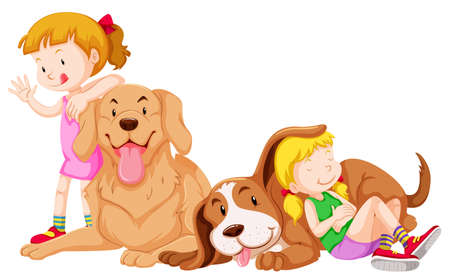 graphic art: Two girls and two pet dogs illustration