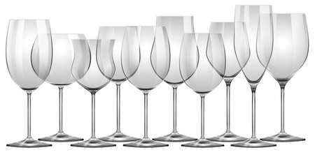 alcohol series: Wine glasses in different sizes illustration