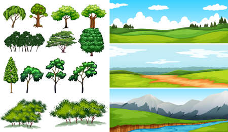 Nature scenes with fields and mountians illustration