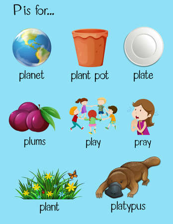 Many words begin with letter P illustration