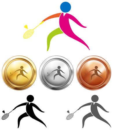 gold silver: Sport icon and medals for badminton illustration Illustration
