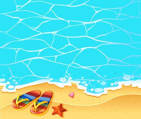 sandels: Nature scene with sandles on the beach illustration