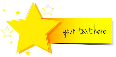 star award: Banner design with stars and yellow tag illustration