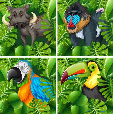 Wild animals in the safari illustration Illustration