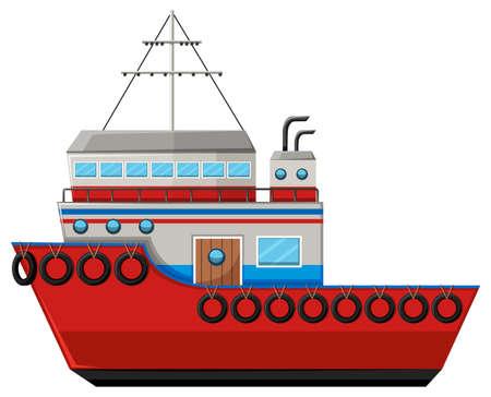 Fishing boat on white background illustration