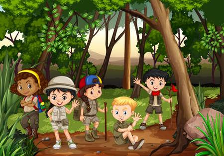 femme dessin: Enfants camper dans les bois illustration
