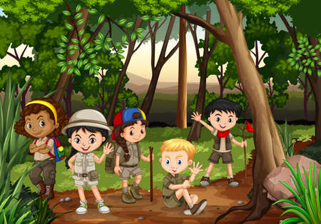 Kinderen kamperen in het bos illustratie