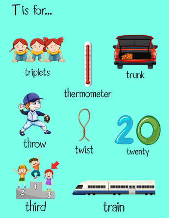 Many words starts with letter T illustration