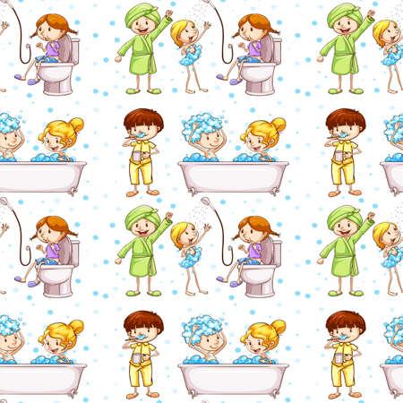 aseo: De fondo sin fisuras con los niños en la ilustración bañera