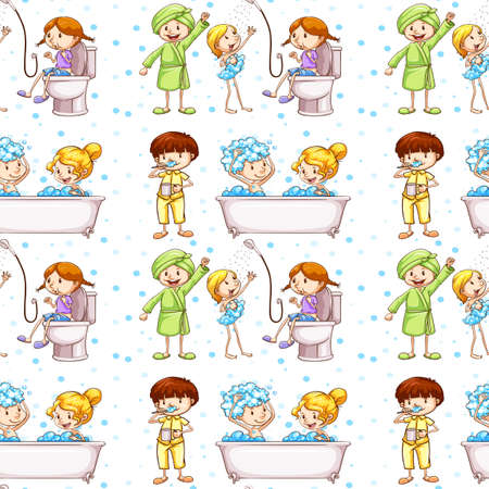 toilet paper art: Seamless background with kids in bathtub illustration