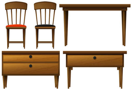 wooden stool: Many types of wooden furnitures illustration