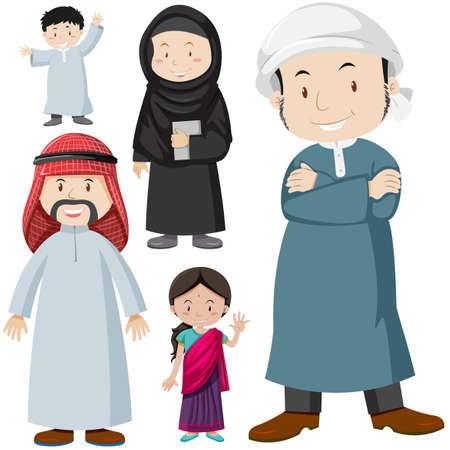 Muslimischen Menschen in traditionellen Kostümen Illustration