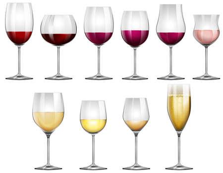 sektglas: Weingläser gefüllt mit roten und weißen Wein Illustration