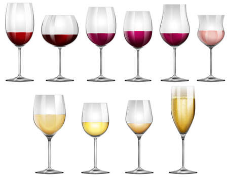 Wine glasses filled with red and white wine illustration Çizim