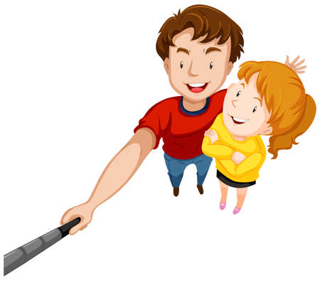 male teenager: Man and woman with big smile illustration