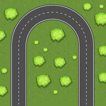 aerial view: Aerial view of u-turn road illustration