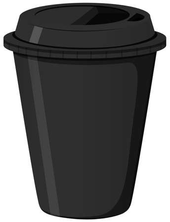 black coffee: Paper coffee cup in black color illustration Illustration