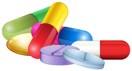 Pile of tablets and pellets illustration