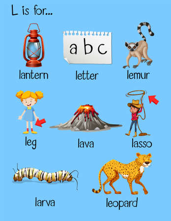 spelling: Many words begin with letter L illustration