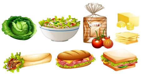 Set of different kinds of food illustration Illustration