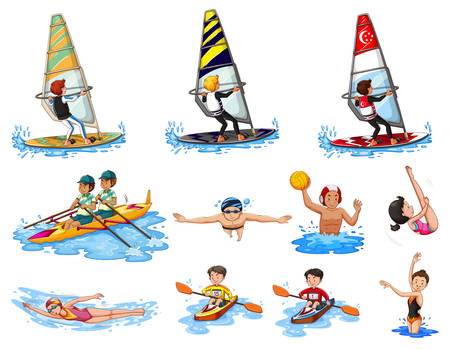 water sports: Different kinds of water sports illustration Illustration