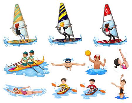 Different kinds of water sports illustration Illustration