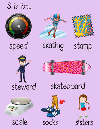 begin: English words begin with letter S illustration