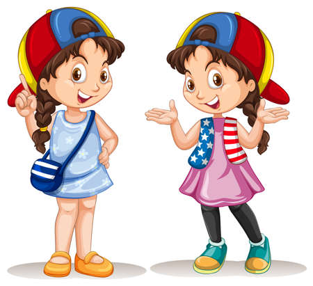 international students: Girl in two different costumes illustration