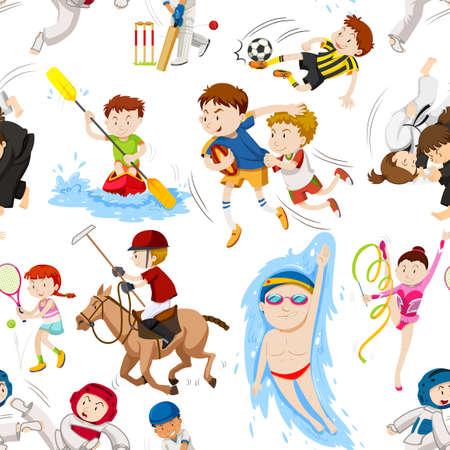 De fondo sin fisuras con la ilustración de muchos deportes