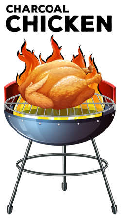 barbecue stove: Roasted chicken on the grill illustration