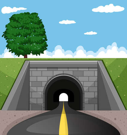 road tunnel: Road going through the tunnel illustration Illustration