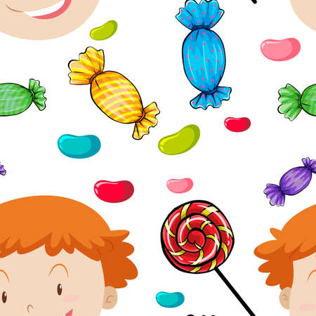 art design: Seamless background with kids and candy illustration Illustration