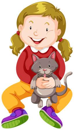 pet cat: Little girl hugging pet cat illustration