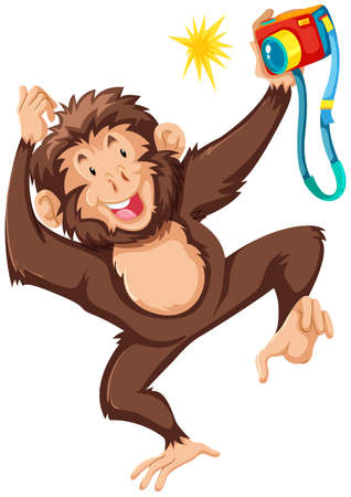 Monkey taking picture with camera illustration