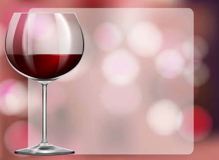 red wine glass: Frame design with red wine in glass illustration