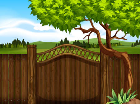 Wooden fence in the garden illustration