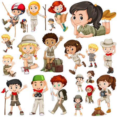 multiple image: Boys and girls in safari outfit illustration
